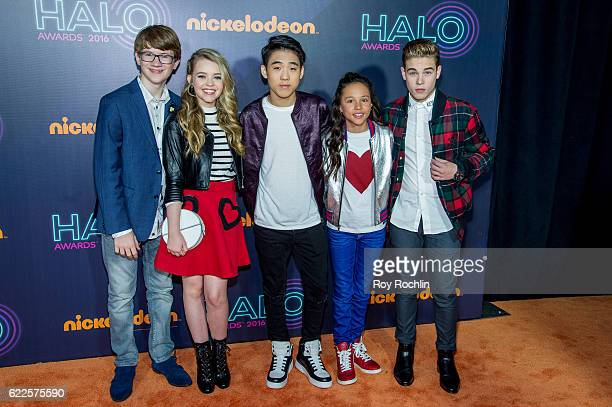 Cast members of 'School of Rock' Aidan Miner Jade Pettyjohn Lance Lim Breanna Yde and Ricardo Hurtado attend the Nickelodeon Halo Awards 2016 at Pier...