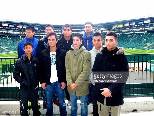 Cast members of Taiwan movie 'Kano' pose for photographs at Hanshin Koshien Stadium on March 6 2014 in Nishinomiya Hyogo Japan The movie featured a...