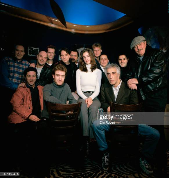 Cast members of the French film Les Grandes bouches directed by Bernie Bonvoisin pose on the movie set in Paris French boxer JeanClaude Bouttier...