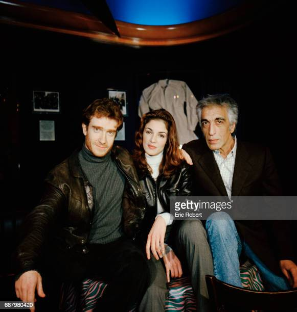 Cast members of the French film Les Grandes bouches directed by Bernie Bonvoisin pose on the movie set in Paris Thierry Fremont Nadia Fares and...