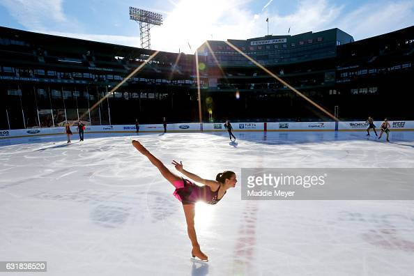 Cast members of the Frozen Fenway 2017 Winter Party On Ice perform at Fenway Park on January 16 2017 in Boston Massachusetts