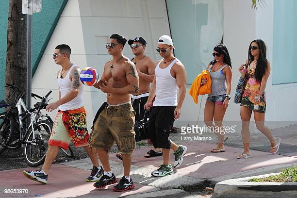 Cast members of the Jersey Shore are seen on April 24 2010 in Miami Beach Florida