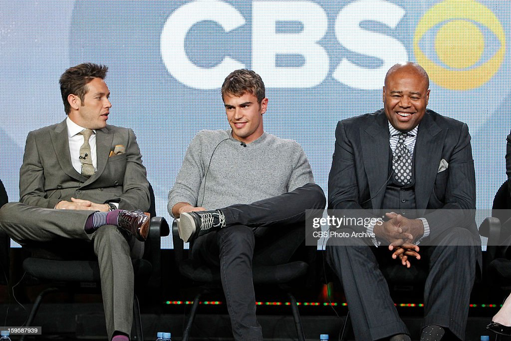 Cast members of the new CBS Drama 'Golden Boy' talk to reporters during the TCA Winter Press Tour 2013, held on January 12th in Los Angeles, Ca. Pictured left to right: Kevin Alejandro, Theo James and Chi McBride