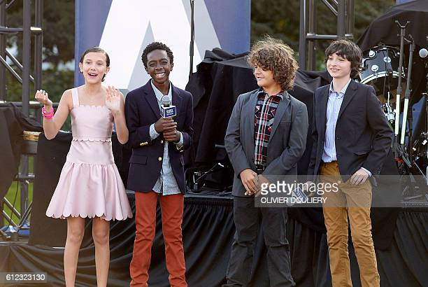 Cast members of the television series Stranger Things Millie Bobby Brown Caleb McLaughlin Gaten Matarazzo and Finn Wolfhard speak at the first South...