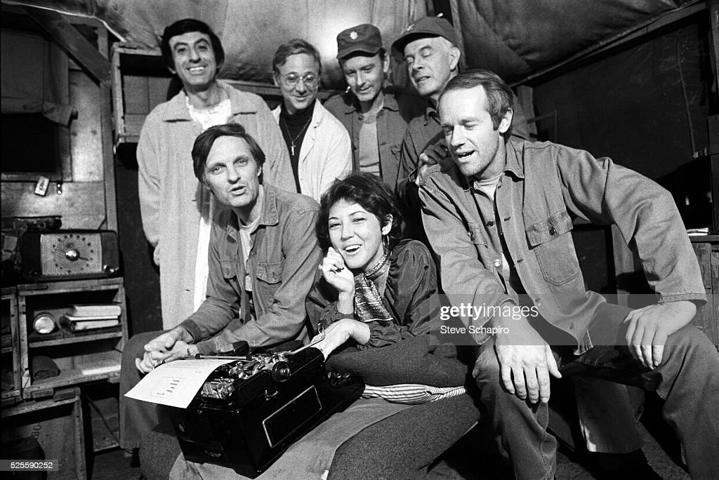 Cast members of the television show M*A*S*H on set.