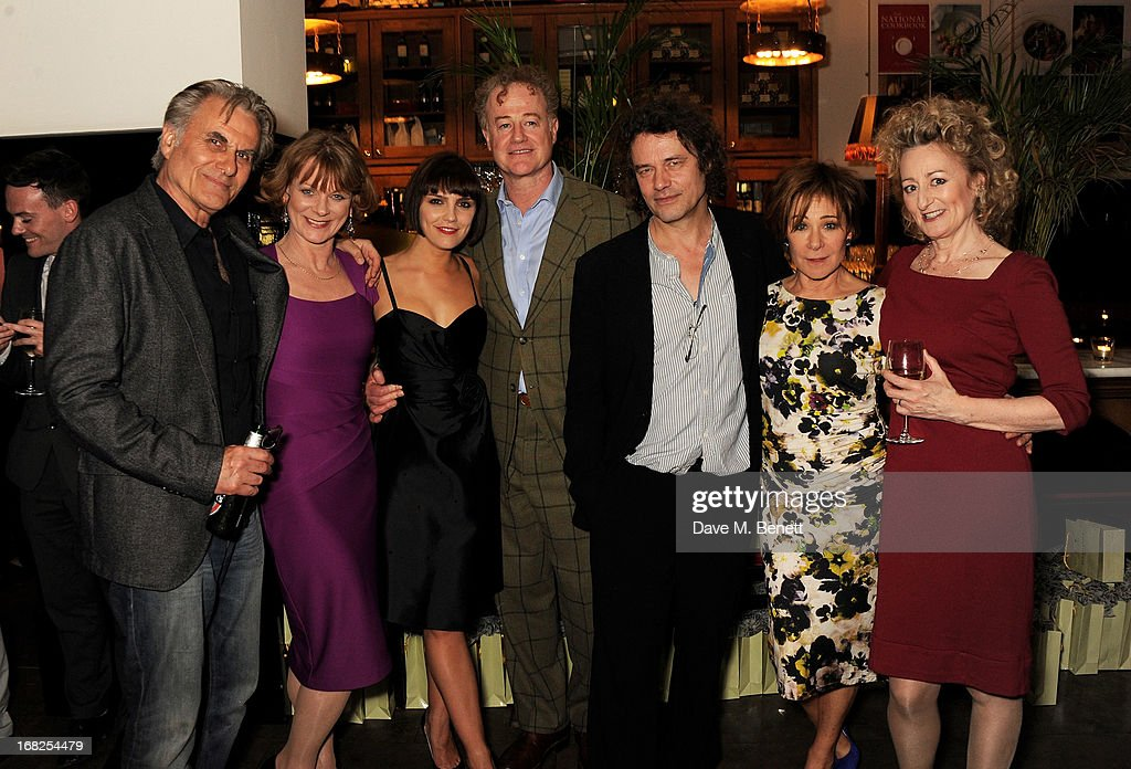 Cast members Oliver Cotton, <a gi-track='captionPersonalityLinkClicked' href=/galleries/search?phrase=Samantha+Bond&family=editorial&specificpeople=209017 ng-click='$event.stopPropagation()'>Samantha Bond</a>, Annabel Scholey, Owen Teale, director <a gi-track='captionPersonalityLinkClicked' href=/galleries/search?phrase=David+Leveaux&family=editorial&specificpeople=239085 ng-click='$event.stopPropagation()'>David Leveaux</a>, <a gi-track='captionPersonalityLinkClicked' href=/galleries/search?phrase=Zoe+Wanamaker&family=editorial&specificpeople=224028 ng-click='$event.stopPropagation()'>Zoe Wanamaker</a> and Sian Thomas attend an after party following the press night performance of 'Passion Play' at The National Gallery on May 7, 2013 in London, England.