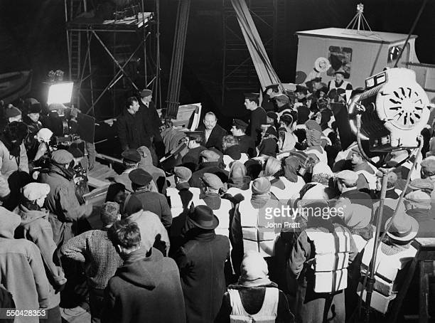 Cast members on set during filming of 'A Night To Remember' at Pinewood Studios Buckinghamshire 10th January 1958 The film is based on the sinking of...