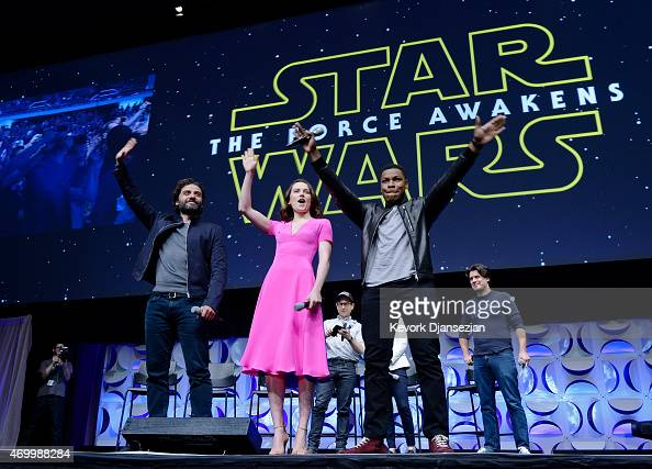Cast members Oscar Isaac Daisy Ridley John Boyega of 'Star Wars The Force Awakens' and back row writer director and producer JJ Abrams producer...