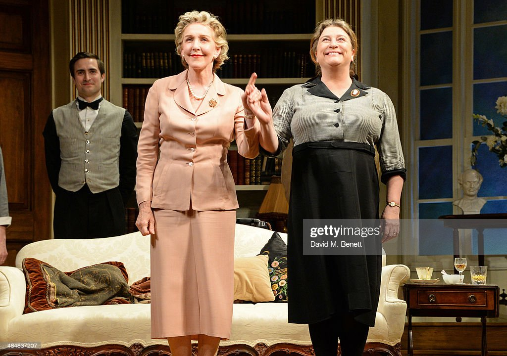 Cast members <a gi-track='captionPersonalityLinkClicked' href=/galleries/search?phrase=Patricia+Hodge&family=editorial&specificpeople=228366 ng-click='$event.stopPropagation()'>Patricia Hodge</a> (2L) and Caroline Quentin bow at the curtain call during the press night performance of 'Relative Values' at the Harold Pinter Theatre on April 14, 2014 in London, England.