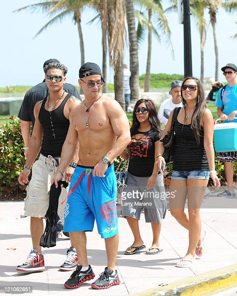 Cast members Paul 'DJ Pauly D' DelVecchio Mike 'The Situation' Sorrentino Nicole 'Snooki' Polizzi and Sammi 'Sweetheart' Giancola of Jersey Shore are...