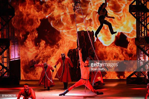Cast members perform during a dress rehearsal for the fourth annual 'One Night for ONE DROP' imagined by Cirque du Soleil a show that raises...