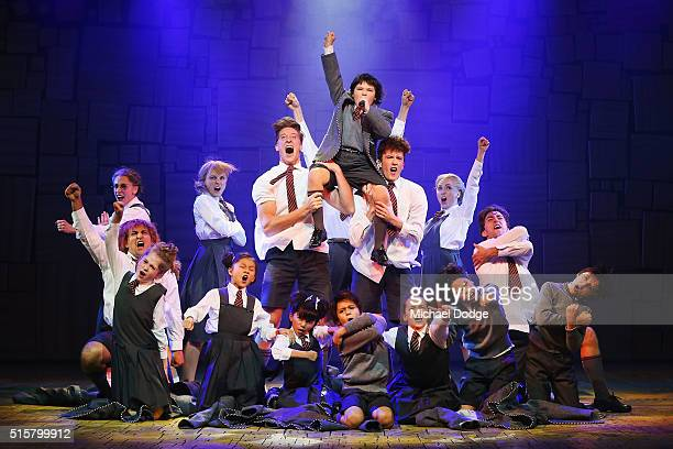 Cast members perform during a media call for Matilda The Musical at Princess Theatre on March 16 2016 in Melbourne Australia