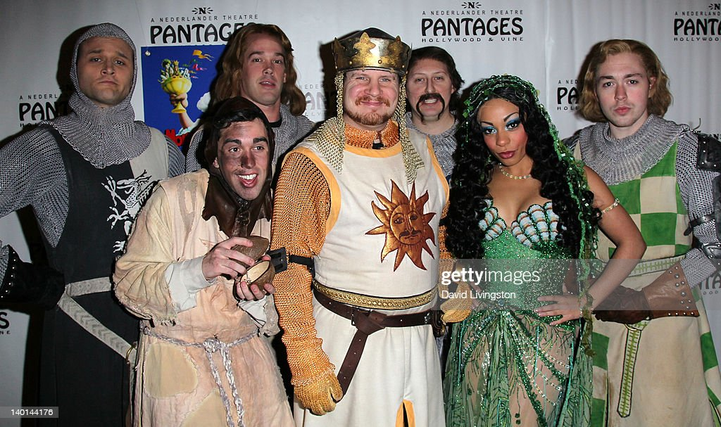 Cast members pose at the opening night of 'Monty Python's Spamalot' at the Pantages Theatre on February 28, 2012 in Hollywood, California.