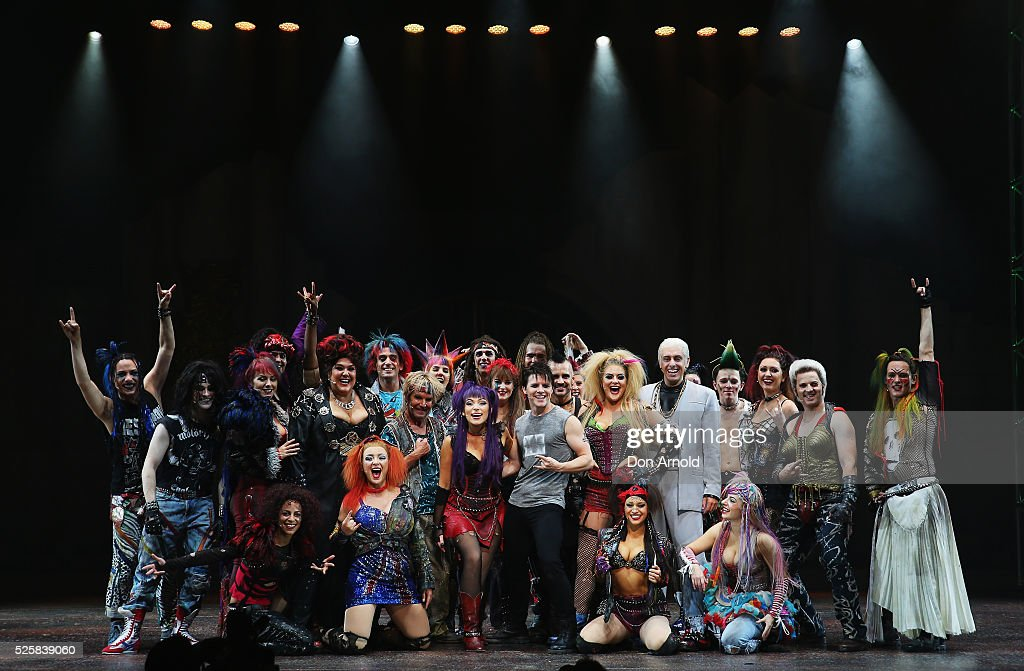 Cast members pose during the 'We Will Rock You' media call at Lyric Theatre, Star City on April 29, 2016 in Sydney, Australia.