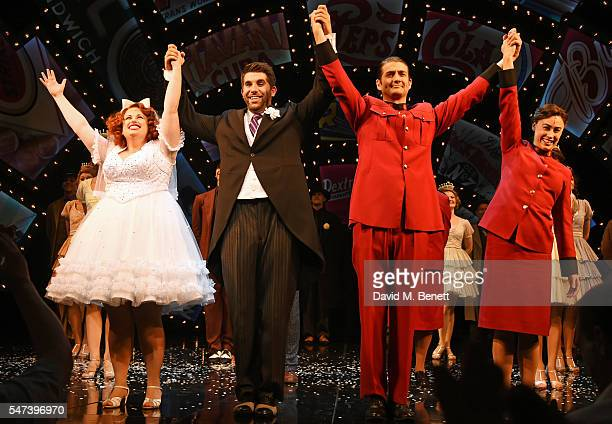 Cast members Rebel Wilson Simon Lipkin Oliver Tompsett and Siubhan Harrison bow at the curtain call during the press night performance of the...
