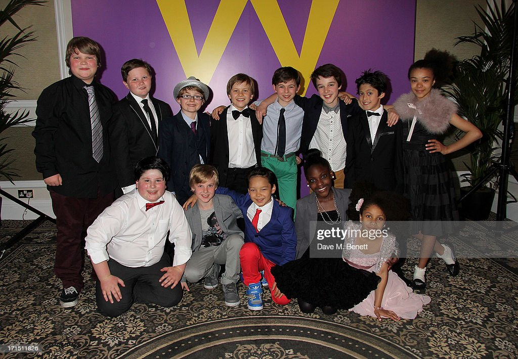 Cast members Regan Stokes, Harrison Slater, Louis Suc, Jack Costello, Tom Klenerman, Isaac Rouse, Jay Heyman, India Ria Amarteifio, (front L to R) Jenson Steele, Adam Mitchell, Luca Toomey, <a gi-track='captionPersonalityLinkClicked' href=/galleries/search?phrase=Jade+Johnson&family=editorial&specificpeople=211321 ng-click='$event.stopPropagation()'>Jade Johnson</a> and Mya Olaye attend an after party celebrating the press night performance of 'Charlie And The Chocolate Factory' at The Grand Connaught Rooms on June 25, 2013 in London, England.