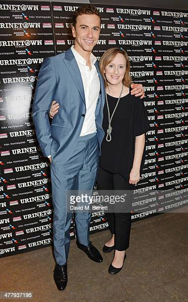 Cast members Richard Fleeshman and Jenna Russell attend the press night performance of 'Urinetown' at the St James Theatre on March 11 2014 in London...