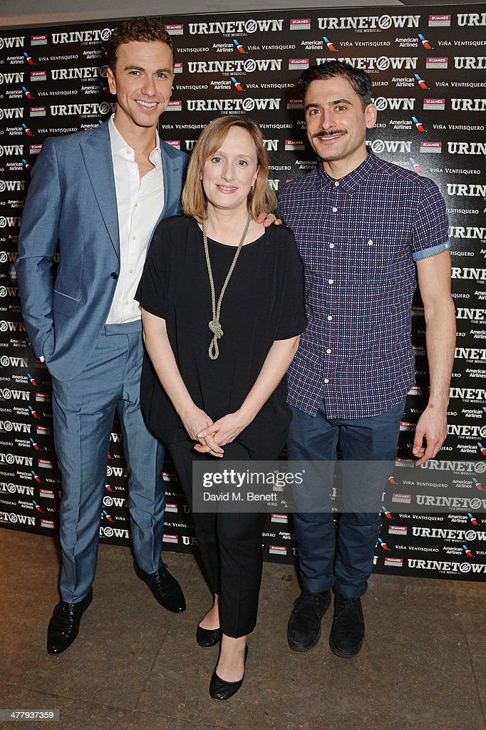 Cast members Richard Fleeshman, Jenna Russell and Marc Elliott attend the press night performance of 'Urinetown' at the St James Theatre on March 11, 2014 in London, England.