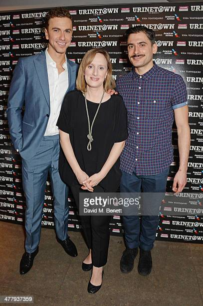 Cast members Richard Fleeshman Jenna Russell and Marc Elliott attend the press night performance of 'Urinetown' at the St James Theatre on March 11...