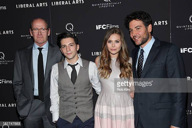 Cast members Richard Jenkins John Magaro Elizabeth Olsen and Josh Radnor attend the 'Liberal Arts' New York Screening at Sunshine Landmark on...