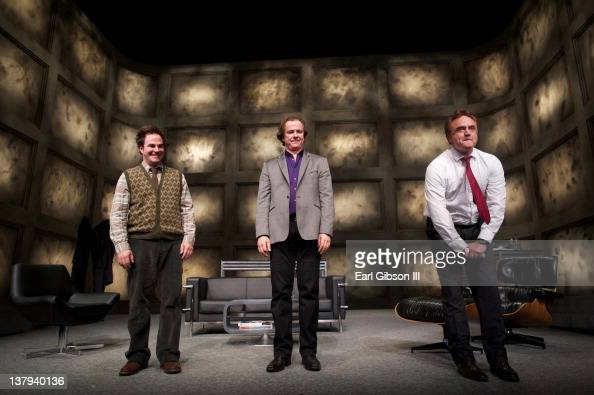 Cast Members Roger Bart Michael O'Keefe and Bradley Whitford take their final bows at the opening night of 'ART' at the Pasadena Playhouse in...