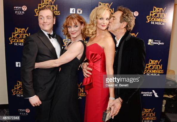 Cast members Rufus Hound Samantha Bond Katherine Kingsley and Robert Lindsay attend an after party following the press night performance of 'Dirty...