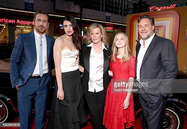 Cast members Ryan Gosling Sarah Margaret Qualley Kim Basinger Angourie Rice and Russell Crowe attend the premiere of Warner Bros Pictures' 'The Nice...