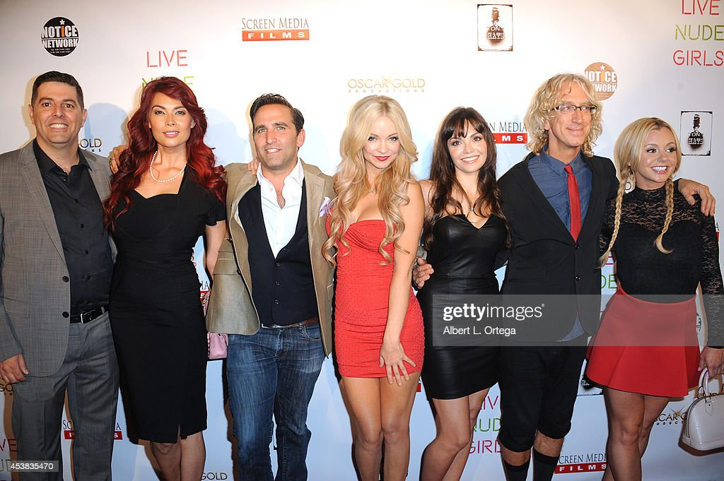 Cast members Sam Tripoli, <a gi-track='captionPersonalityLinkClicked' href=/galleries/search?phrase=Tera+Patrick&family=editorial&specificpeople=241484 ng-click='$event.stopPropagation()'>Tera Patrick</a>, Mike Hatton, <a gi-track='captionPersonalityLinkClicked' href=/galleries/search?phrase=Mindy+Robinson&family=editorial&specificpeople=7905936 ng-click='$event.stopPropagation()'>Mindy Robinson</a>, Annemarie Pazmino, <a gi-track='captionPersonalityLinkClicked' href=/galleries/search?phrase=Andy+Dick&family=editorial&specificpeople=171170 ng-click='$event.stopPropagation()'>Andy Dick</a> and <a gi-track='captionPersonalityLinkClicked' href=/galleries/search?phrase=Bree+Olson&family=editorial&specificpeople=5153154 ng-click='$event.stopPropagation()'>Bree Olson</a> arrive at the premiere of 'Live Nude Girls' held at Avalon on August 12, 2014 in Hollywood, California.