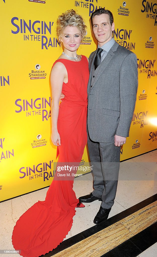 Cast members <a gi-track='captionPersonalityLinkClicked' href=/galleries/search?phrase=Scarlett+Strallen&family=editorial&specificpeople=874282 ng-click='$event.stopPropagation()'>Scarlett Strallen</a> (L) and Adam Cooper attend an after party celebrating the press night performance of 'Singing In The Rain' at Freemasons Hall on February 15, 2012 in London, England.