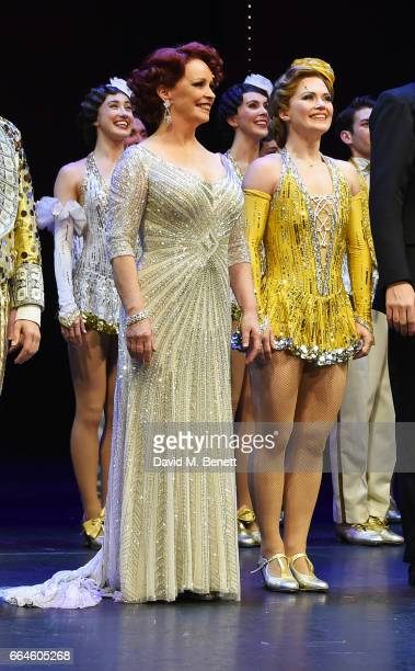 Cast members Sheena Easton and Clare Halse bow at the curtain call during the Opening Night Royal Gala performance of '42nd Street' in aid of the...