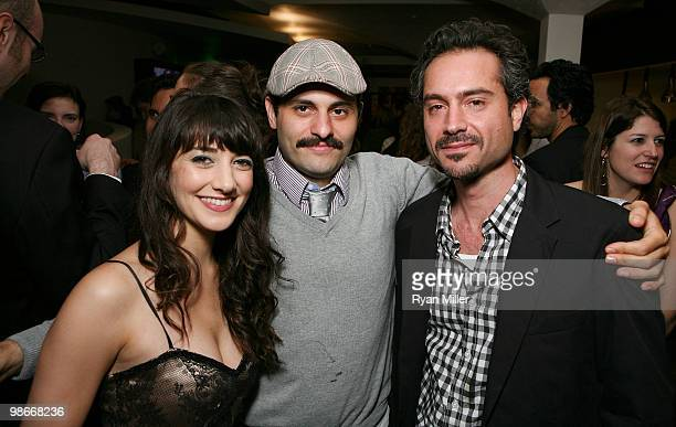 Cast members Shelia Vand and Arian Moayed pose with actor Omar Metwally pose during the party for the opening night performance of 'Bengal Tiger at...