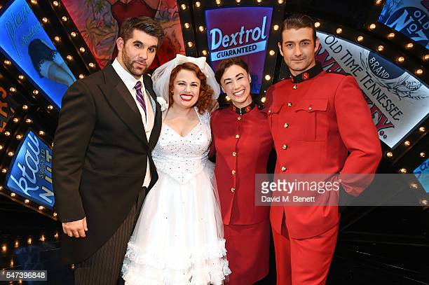 Cast members Simon Lipkin Rebel Wilson Siubhan Harrison and Oliver Tompsett pose backstage following their press night performance in the acclaimed...