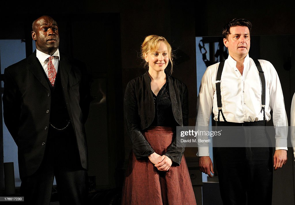 Cast members Steve Toussaint, Hattie Morahan and Dominic Rowan bow at the curtain call during the press night performance of 'A Doll's House' at the Duke Of Yorks Theatre on August 14, 2013 in London, England.