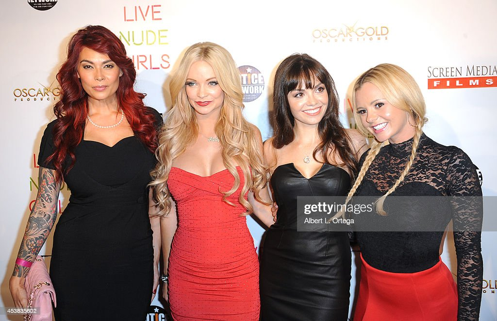 Cast members <a gi-track='captionPersonalityLinkClicked' href=/galleries/search?phrase=Tera+Patrick&family=editorial&specificpeople=241484 ng-click='$event.stopPropagation()'>Tera Patrick</a>, <a gi-track='captionPersonalityLinkClicked' href=/galleries/search?phrase=Mindy+Robinson&family=editorial&specificpeople=7905936 ng-click='$event.stopPropagation()'>Mindy Robinson</a>, Annemarie Pazmino and <a gi-track='captionPersonalityLinkClicked' href=/galleries/search?phrase=Bree+Olson&family=editorial&specificpeople=5153154 ng-click='$event.stopPropagation()'>Bree Olson</a> arrive at the premiere of 'Live Nude Girls' held at Avalon on August 12, 2014 in Hollywood, California.