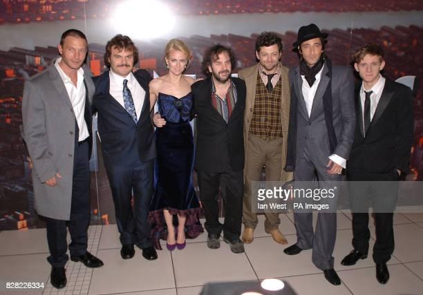 Cast members Thomas Kretschmann Jack Black Naomi Watts Peter Jackson Andy Serkis Adrien Brody and Jamie Bell arrive for the UK film premiere of 'King...