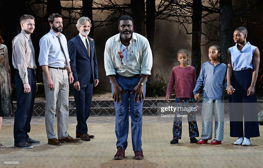 Cast members Toby Wharton, Dominic Rowan, Martin Turner, <a gi-track='captionPersonalityLinkClicked' href=/galleries/search?phrase=Danny+Sapani&family=editorial&specificpeople=2343946 ng-click='$event.stopPropagation()'>Danny Sapani</a>, Joel McDermott, Ricco Godfrey Brown and Michaela Coel bow at the curtain call during the press night performance of 'Medea' at The National Theatre on July 21, 2014 in London, England.