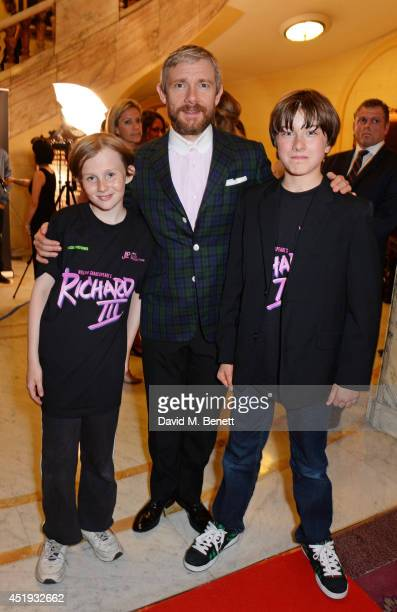Cast members Tom Sargent Martin Freeman and Ross Marron attend an after party celebrating the Gala Night performance of 'Richard III' playing at the...