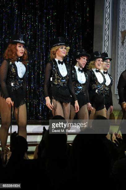 Cast members TracyAnn Oberman Amanda Holden AnnaJane Casey Nicola Stephenson and Natalie Casey bow at the curtain call during the press night...