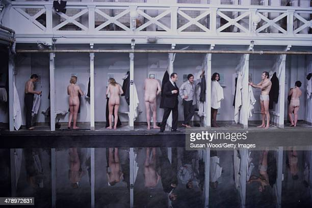 Cast members undress in changing stalls in a scene from the film 'Leo the Last' England 1970 Italian film actor Marcello Mastroianni is seen at...