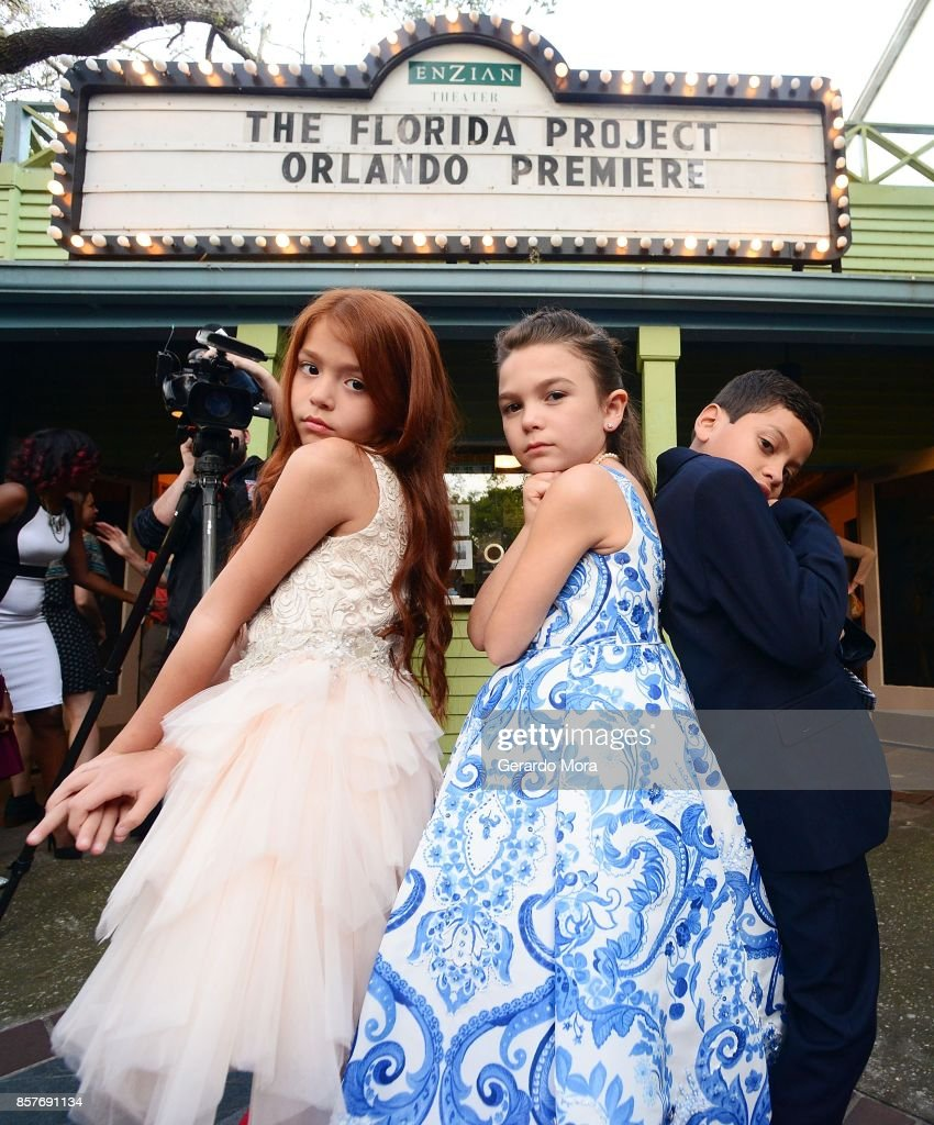 Cast members Valeria Cotto, Brooklynn Prince and Christopher Rivera pose during 'THE FLORIDA PROJECT' Cast & Crew Orlando Premiere at The Enzian Theater on October 4, 2017 in Maitland, Florida.