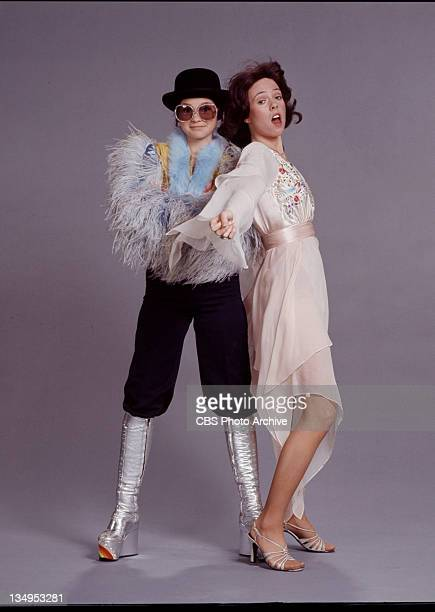 TIME cast members Valerie Bertinelli and Mackenzie Phillips as Elton John and Kiki Dee pose for episode 'Happy New Year' Image dated December 1976
