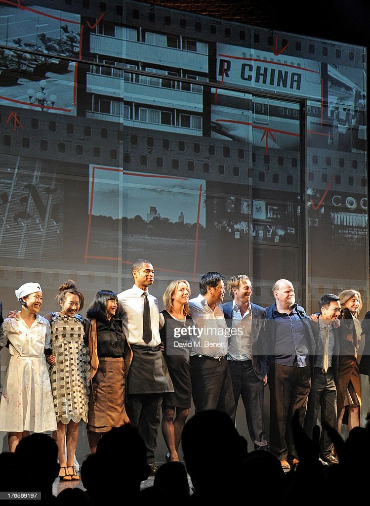 Cast members Vera Chok, Elizabeth Chan, Sarah Lam, Karl Collins, Claudie Blakley, Benedict Wong, Stephen Campbell Moore, Trevor Cooper, David K.S. Tse and Nancy Crane bow at the curtain call during the press night performance of 'Chimerica' at the Harold Pinter Theatre on August 15, 2013 in London, England.