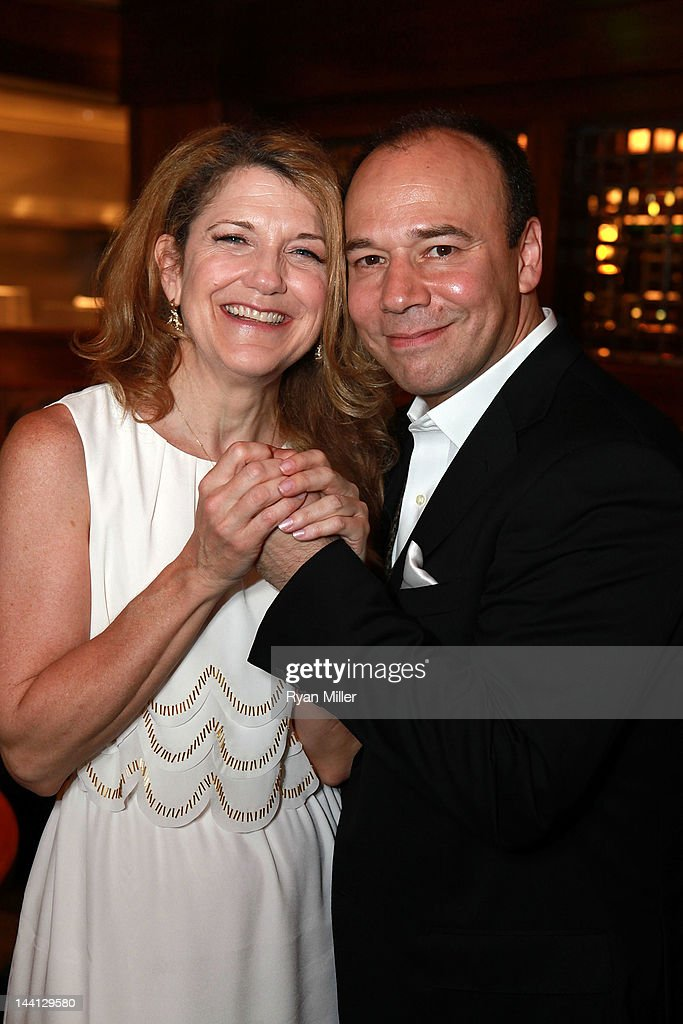 Cast members Victoria Clark (L) and Danny Burstein (R) pose during the party for the opening night performance of 'Follies' at Center Theatre Group/Ahmanson Theatre on May 10, 2012 in Los Angeles, California.