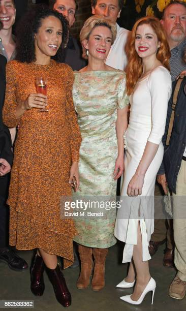 Cast members Vinette Robinson Victoria Hamilton and Charlotte Hope attend the press night performance of 'Albion' at The Almeida Theatre on October...