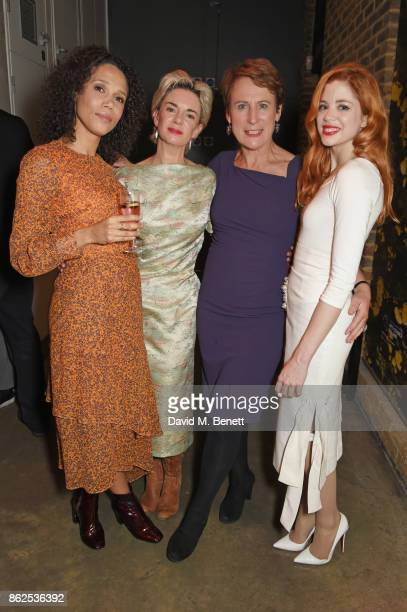 Cast members Vinette Robinson Victoria Hamilton Helen Schlesinger and Charlotte Hope attend the press night performance of 'Albion' at The Almeida...