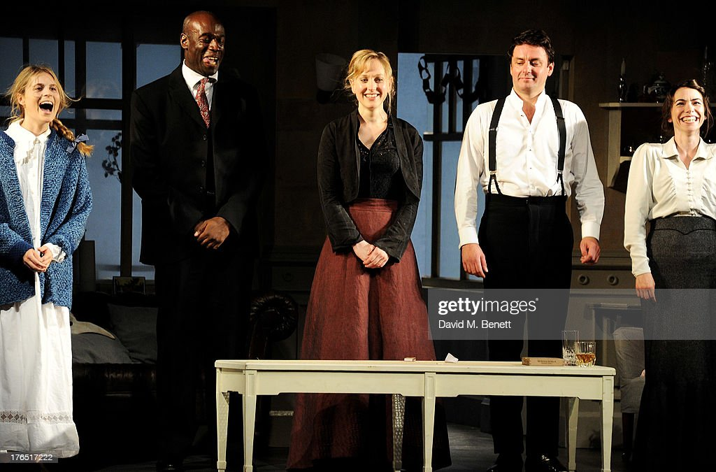 Cast members Yolanda Kettle, Steve Toussaint, Hattie Morahan, Dominic Rowan and Caroline Martin bow at the curtain call during the press night performance of 'A Doll's House' at the Duke Of Yorks Theatre on August 14, 2013 in London, England.