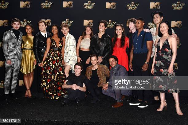 Cast of '13 Reasons Why' poses in the press room during the 2017 MTV Movie And TV Awards at The Shrine Auditorium on May 7 2017 in Los Angeles...