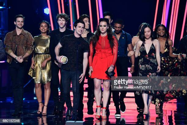 Cast of 13 Reasons Why speak onstage during the 2017 MTV Movie And TV Awards at The Shrine Auditorium on May 7 2017 in Los Angeles California