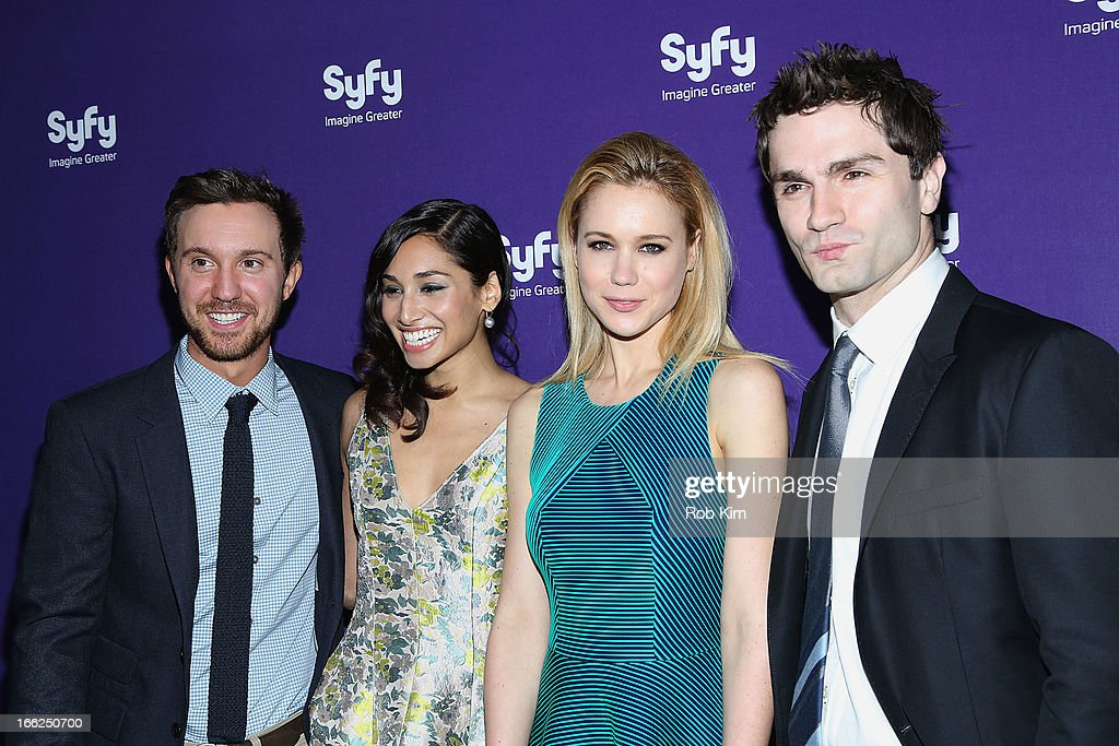 Cast of 'Being Human' <a gi-track='captionPersonalityLinkClicked' href=/galleries/search?phrase=Sam+Huntington&family=editorial&specificpeople=546776 ng-click='$event.stopPropagation()'>Sam Huntington</a>, <a gi-track='captionPersonalityLinkClicked' href=/galleries/search?phrase=Meaghan+Rath&family=editorial&specificpeople=7433544 ng-click='$event.stopPropagation()'>Meaghan Rath</a>, Kristen Hager and <a gi-track='captionPersonalityLinkClicked' href=/galleries/search?phrase=Sam+Witwer&family=editorial&specificpeople=4631209 ng-click='$event.stopPropagation()'>Sam Witwer</a> attend Syfy 2013 Upfront at Silver Screen Studios at Chelsea Piers on April 10, 2013 in New York City.
