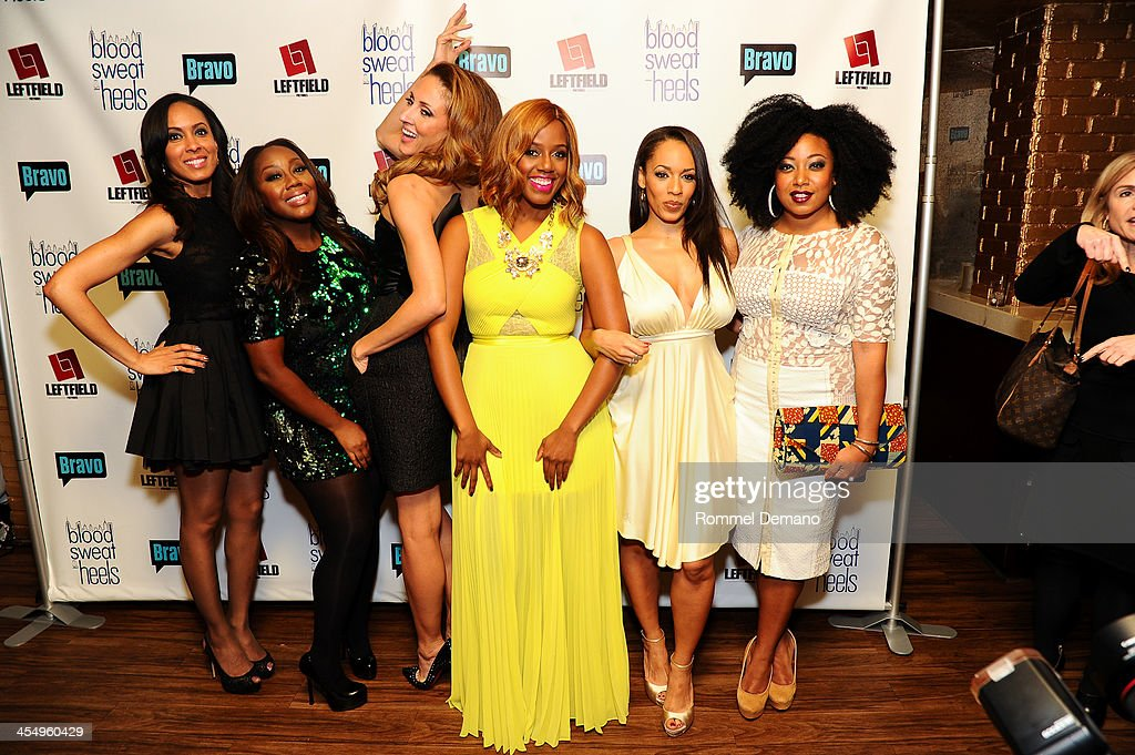 Cast of 'Blood, Sweat and Heels' Brie Bythewood, Geneva S. Thomas, Mica Hughes, Daisy Lewellyn, <a gi-track='captionPersonalityLinkClicked' href=/galleries/search?phrase=Melyssa+Ford+-+Entertainer&family=editorial&specificpeople=1433982 ng-click='$event.stopPropagation()'>Melyssa Ford</a> and Demetria Lucas attend the season premiere of 'Blood, Sweat and Heels' at Kristalbelli on December 10, 2013 in New York City.